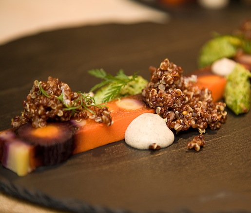 Hearth-Baked Carrot Terrine with Charred Onion Soubise, Carrot Top and Cashew Pesto, and Quinoa